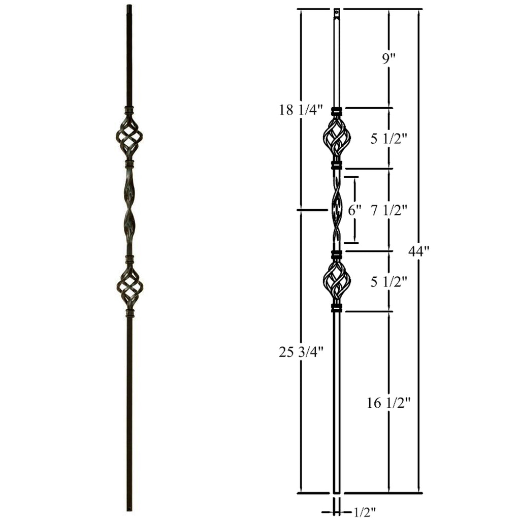 Double Basket & Ribbon Wrought Iron Baluster