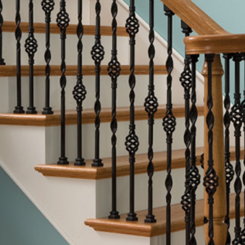 Cheap Double Basket & Ribbon Wrought Iron Baluster