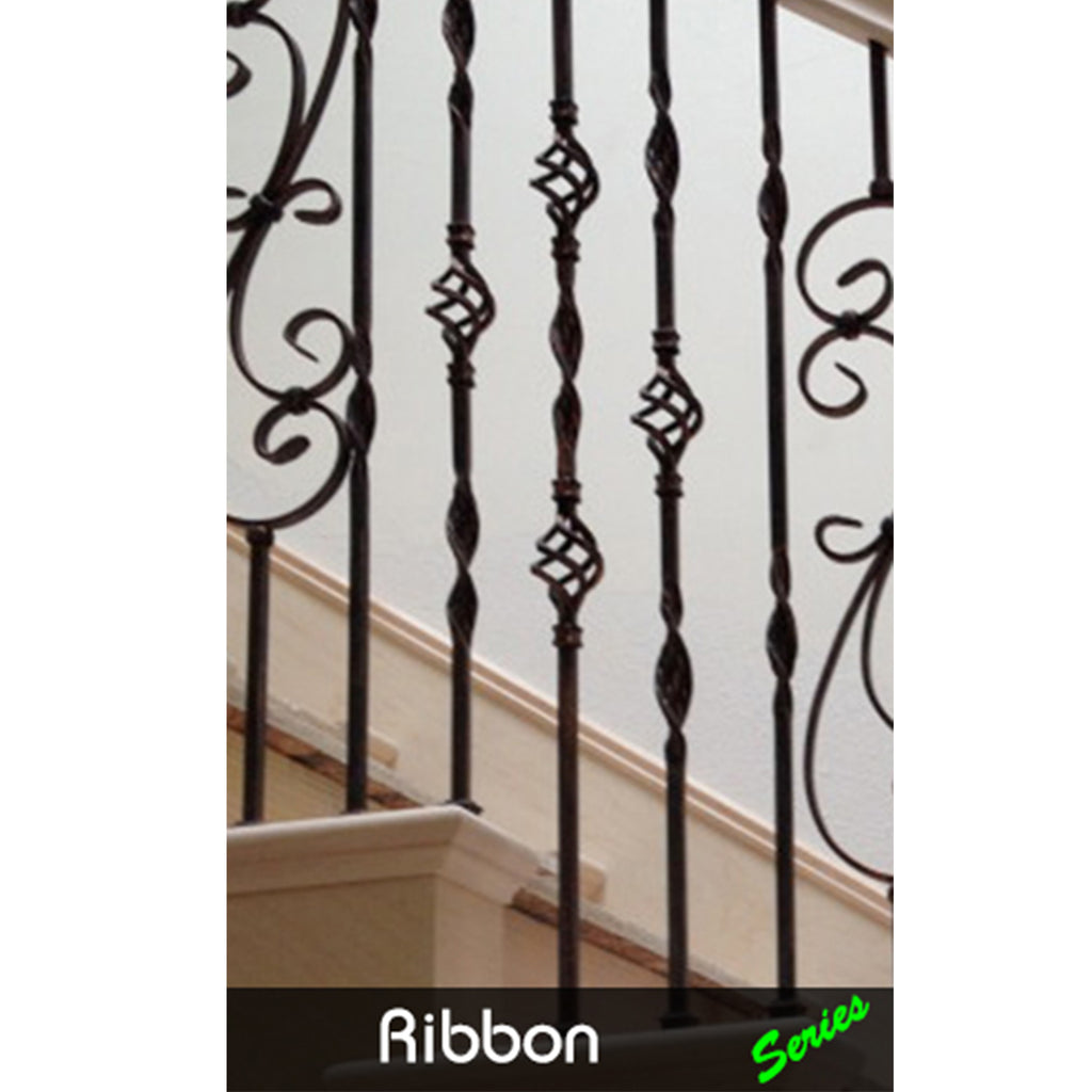 Affordable Double Basket & Ribbon Wrought Iron Baluster