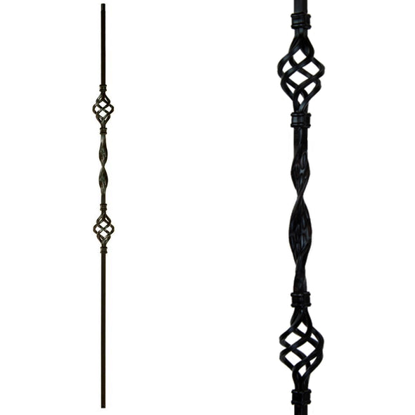 Double Basket & Ribbon Iron Baluster