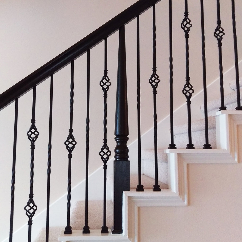 Double Basket Wrought Iron Baluster