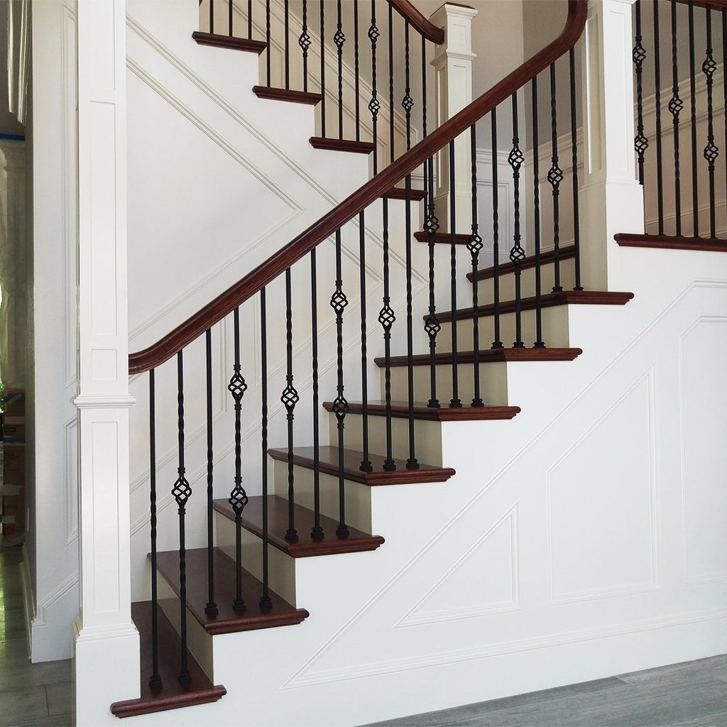 Spiral Stair Single Basket Wrought Iron Baluster