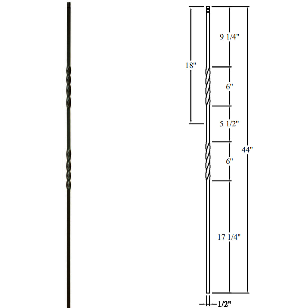 Double Twist Wrought Iron Baluster