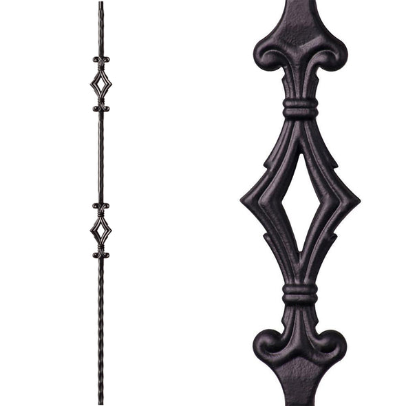 Double Diamond/Window Hammered Iron Baluster