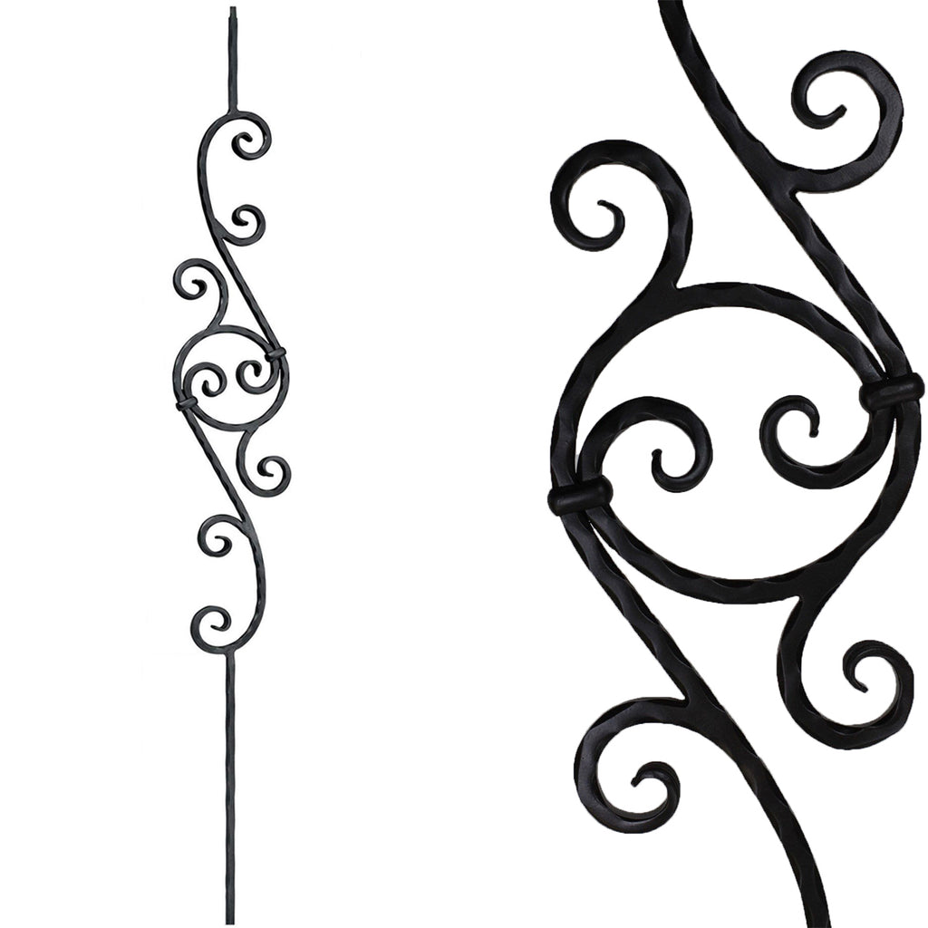 PC 26/1 Hammered Circle Scroll Iron Baluster