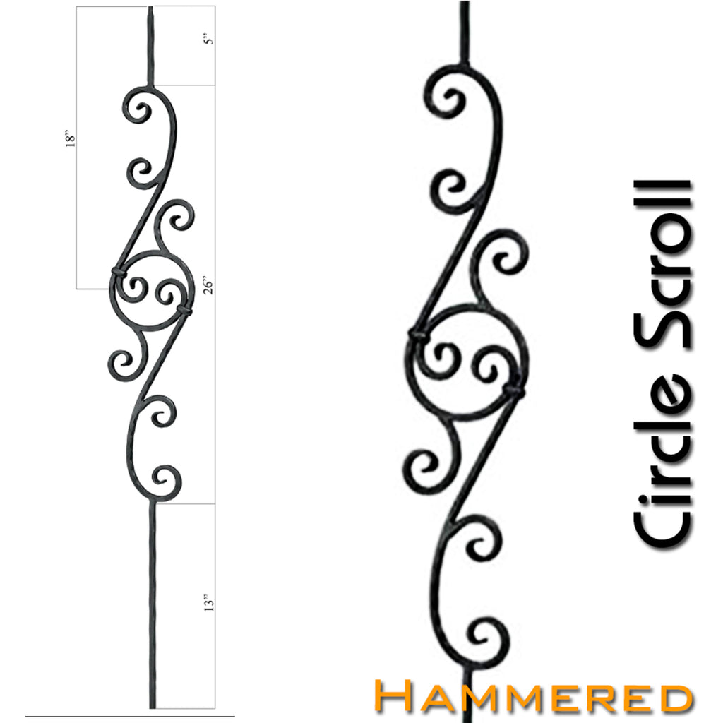 Hammered Circle Scroll Wrought Iron Baluster