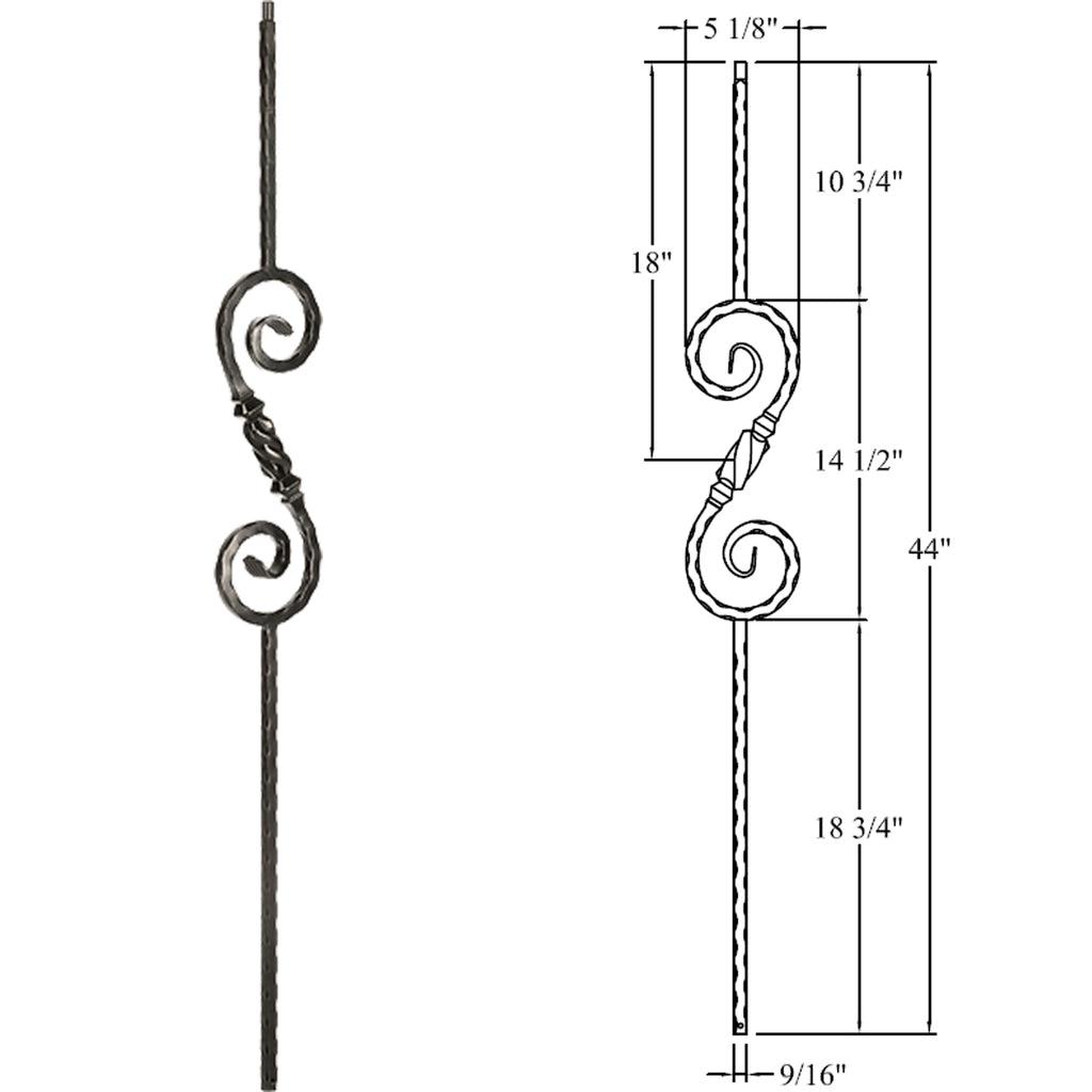 Hammered Beehive Scroll - Knob Scroll Wrought Iron Baluster