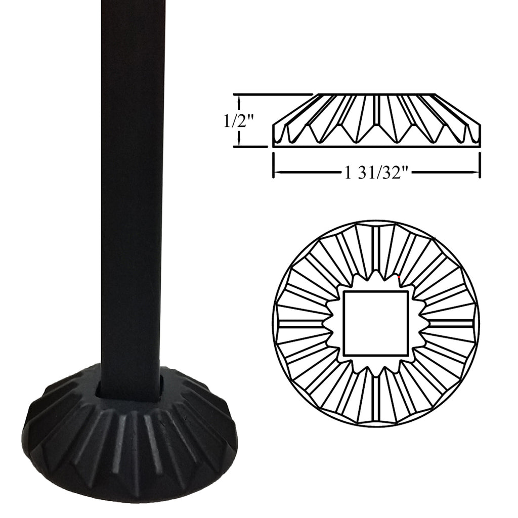 "Round Flat Shoe Collar for 1/2"" Balusters"