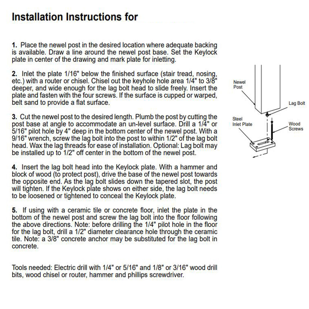 How to installa a keylock wood newel post installation kit