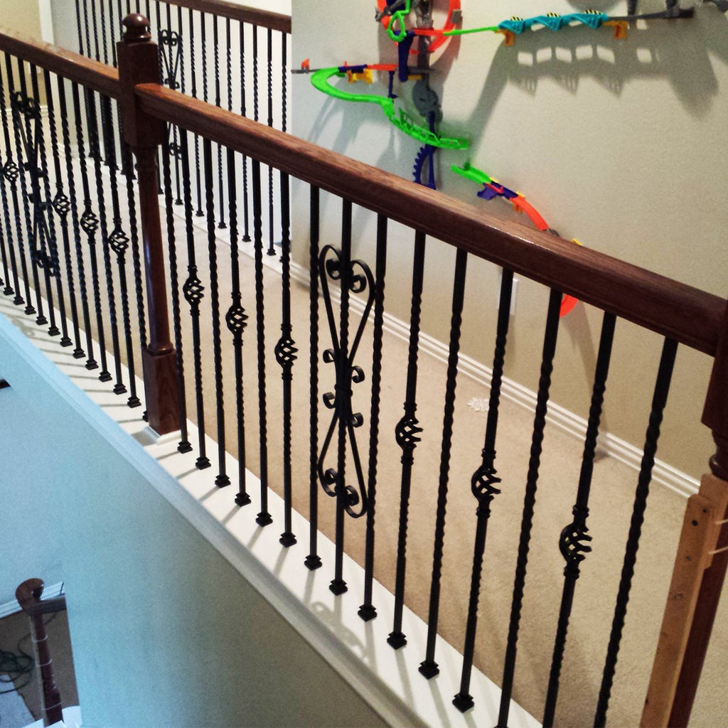 Black Stair Single Basket Wrought Iron Baluster