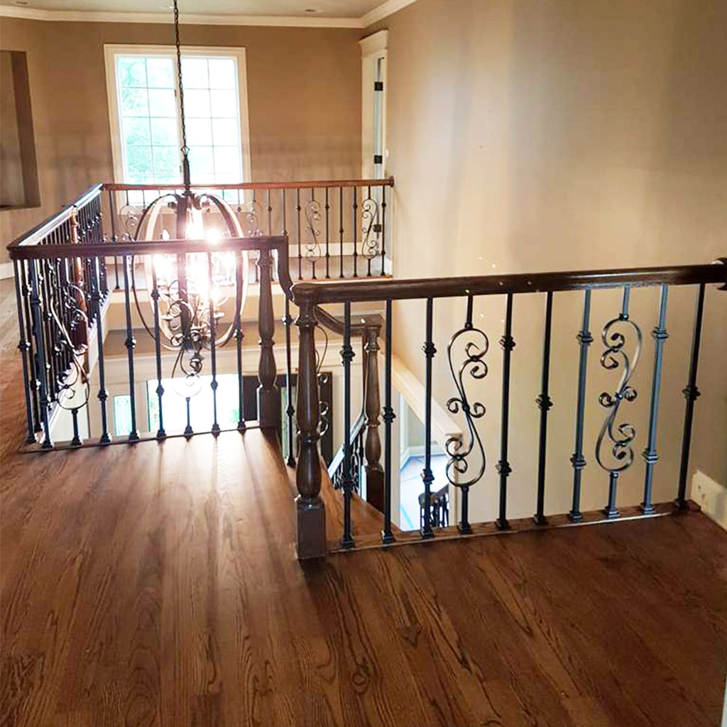 stair railing system with double knuckle mega iron baluster