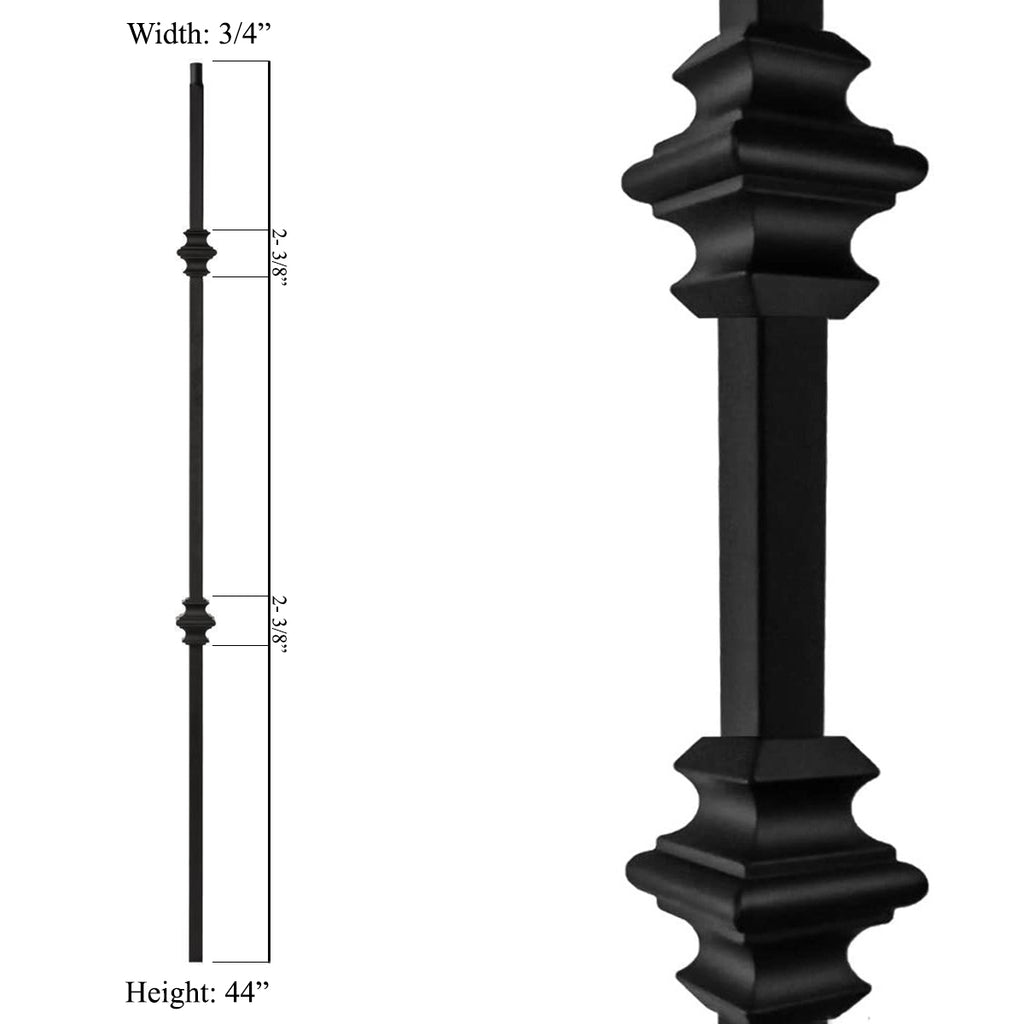 "3/4"" mega series wrought iron baluster double knuckle"