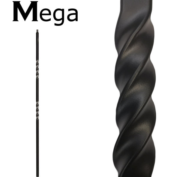 hollow mega  double twist wrought iron baluster