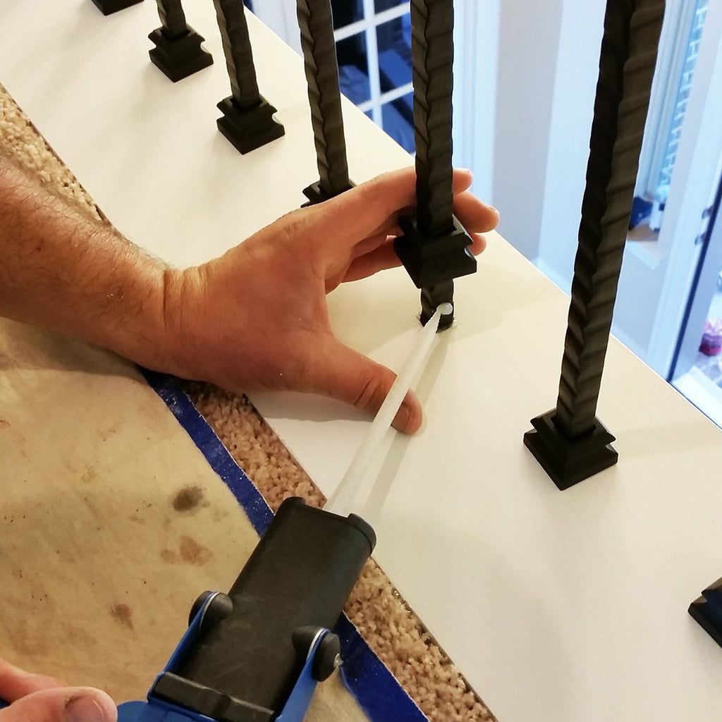 installation of flat base shoe for mega series iron baluster