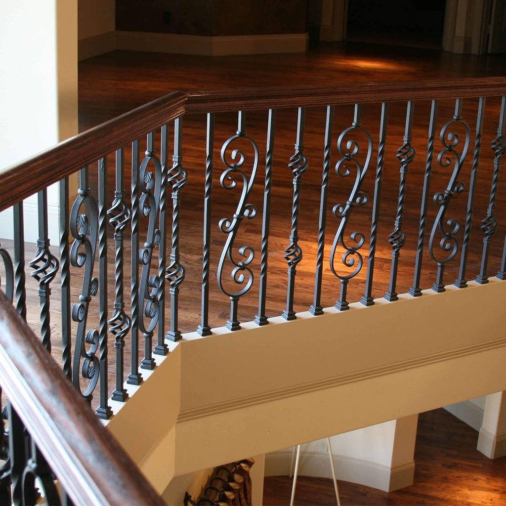 stair system with mega scroll worught iron baluster