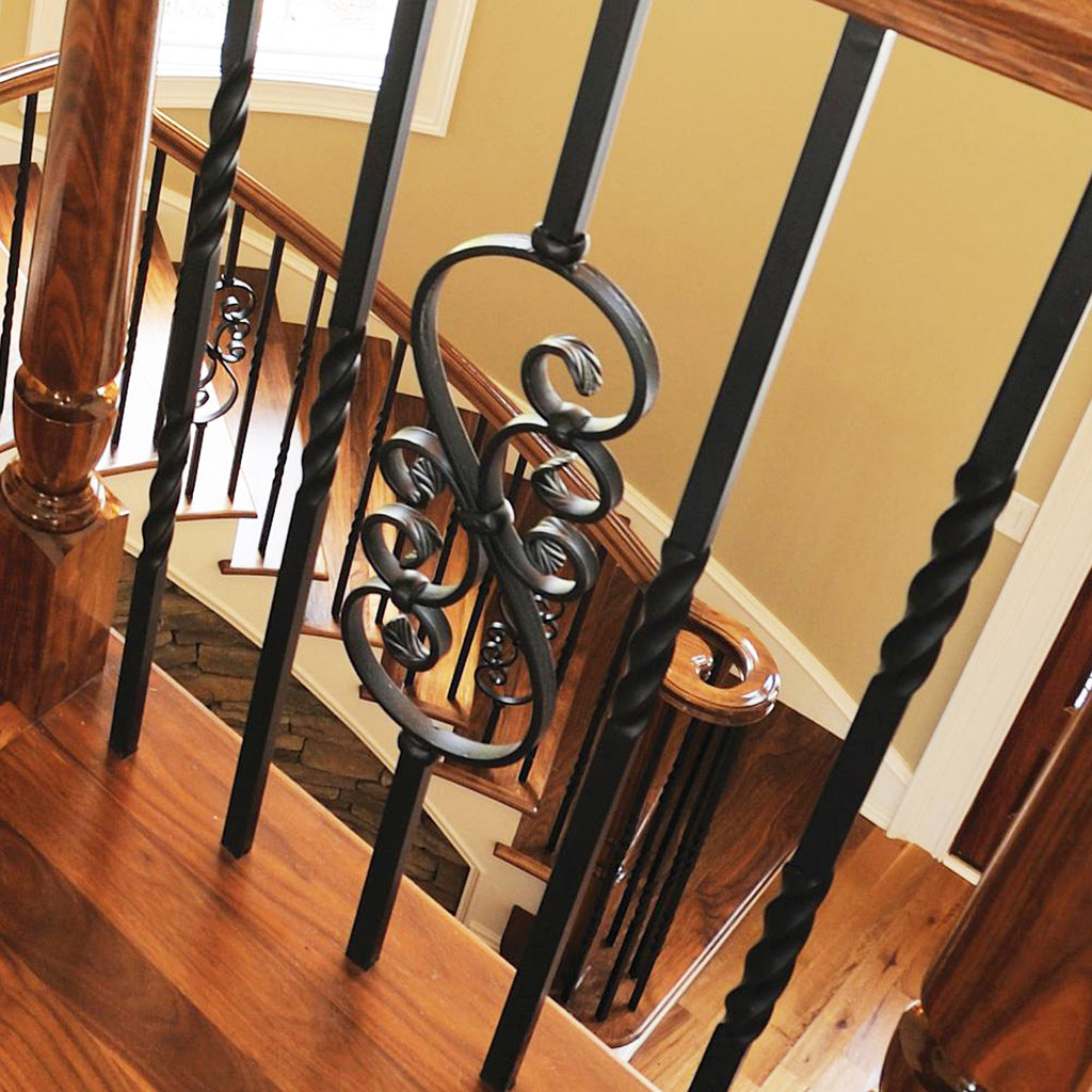 stair railing with mega series scroll wrought iron baluster