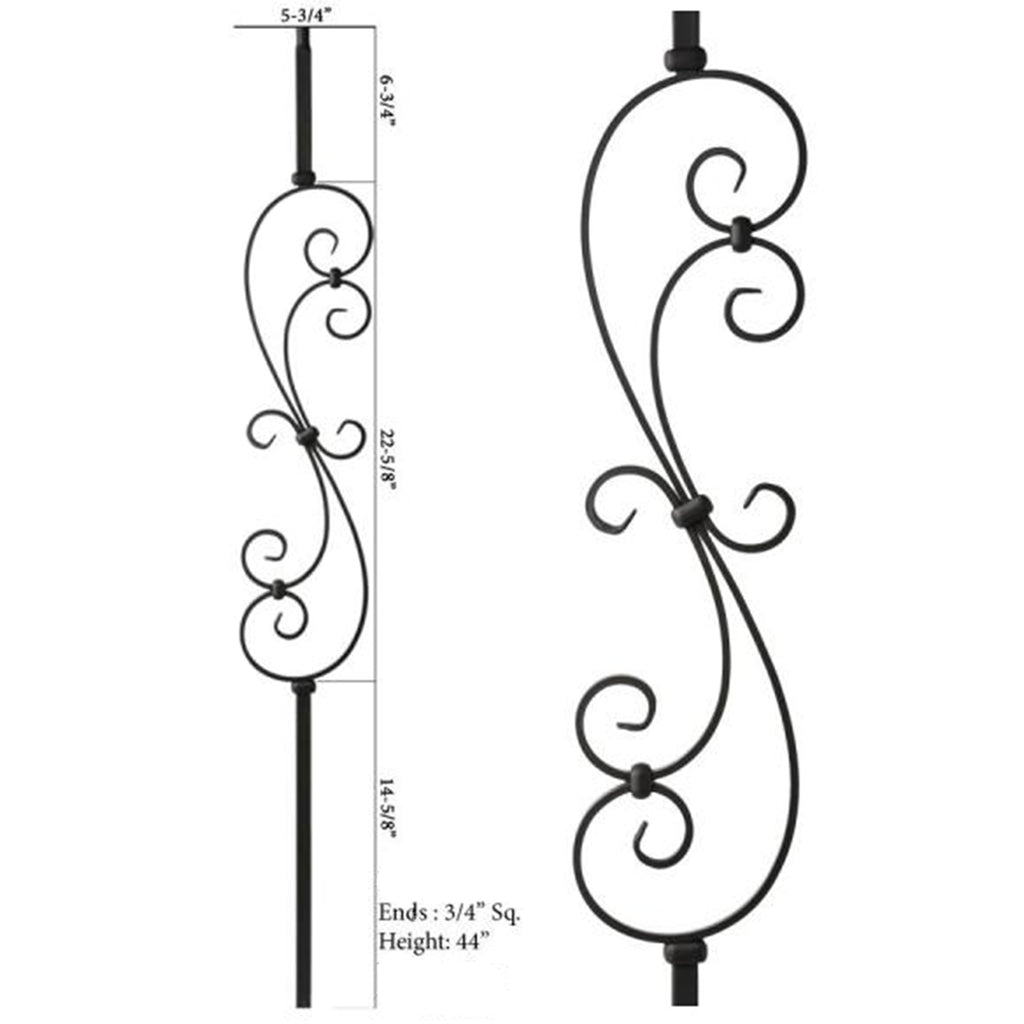 "3/4"" scroll iron baluster mega series"
