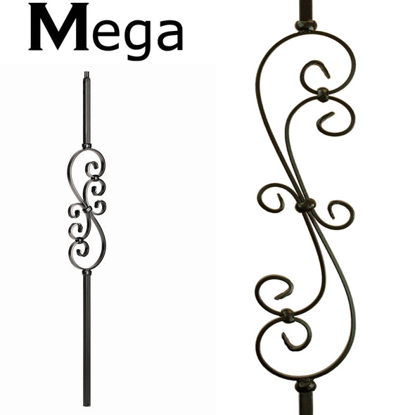 hollow mega scroll wrought iron baluser