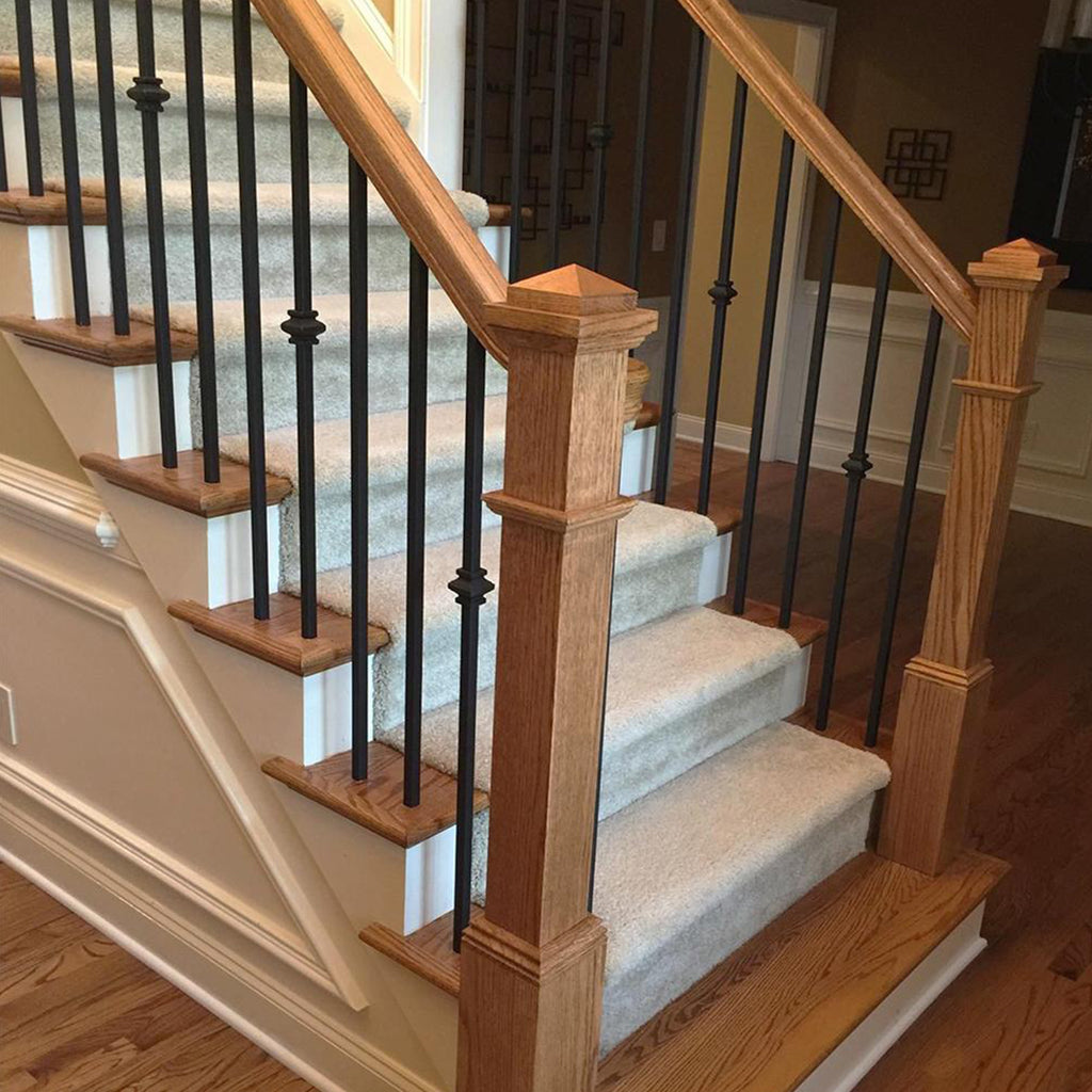 mega series single knuckle worught iron baluster staircase