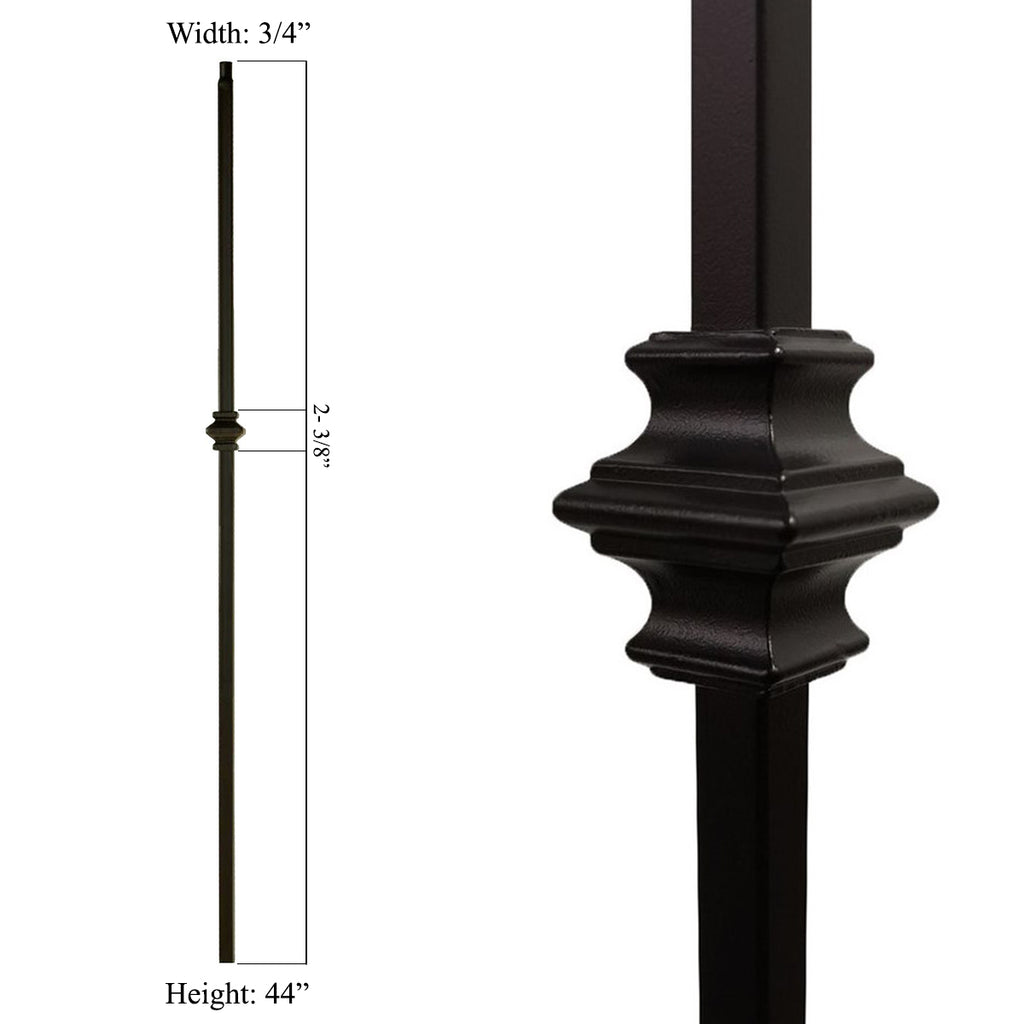 hollow wrought iron baluster single knuckle