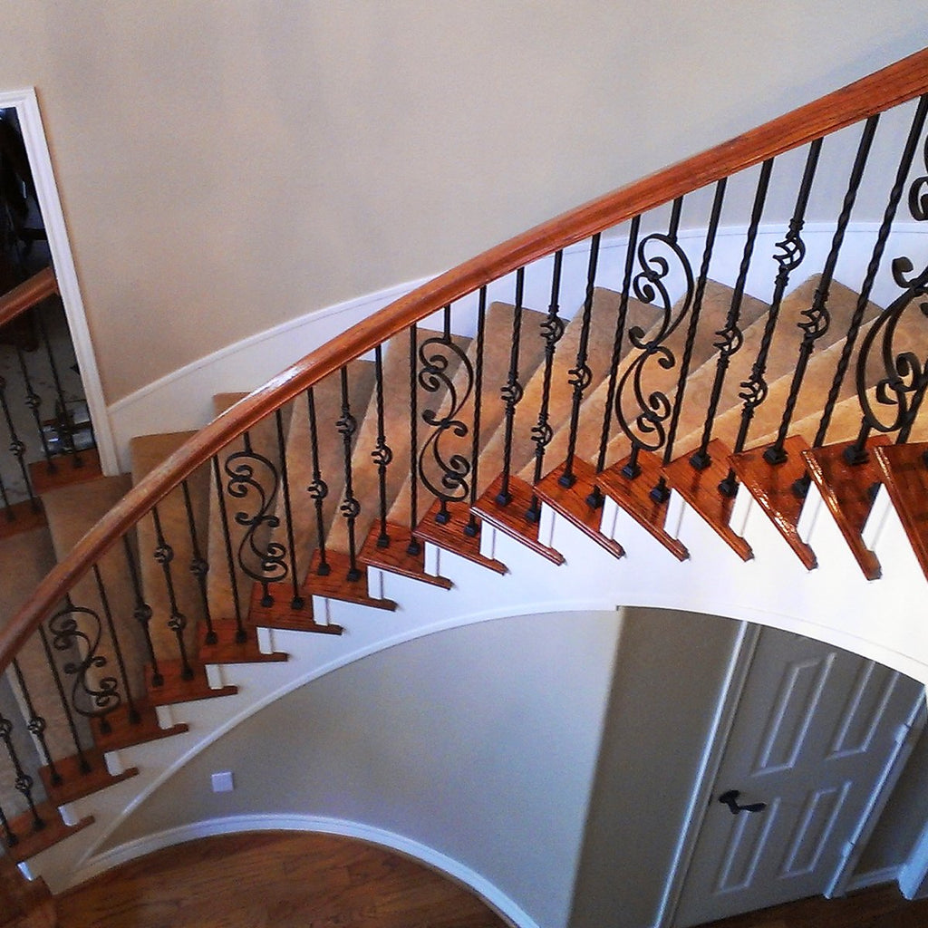 Metal Railing Staircase Skinny Scroll Wrought Iron Baluster