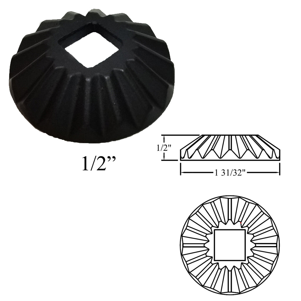 "Stair Round Flat Shoe Collar for 1/2"" Iron Balusters"