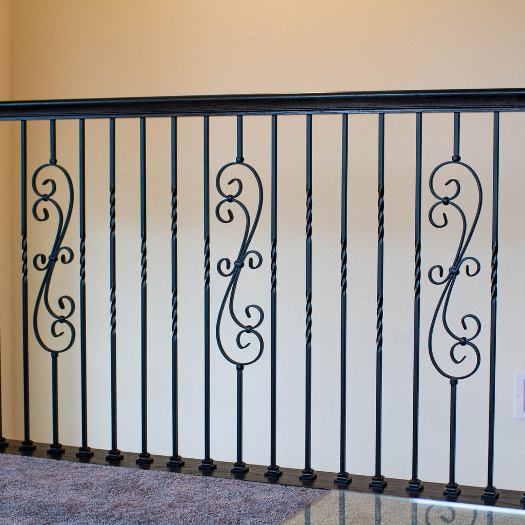 Affordable Black Skinny Scroll Iron Baluster