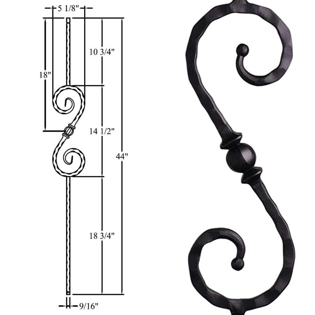 Forged Ball Sphere Scroll Wrought Iron Baluster