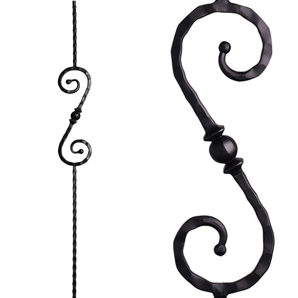 Stair Forged Ball Sphere Scroll Iron Baluster