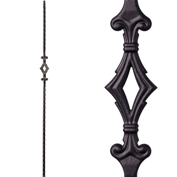 Single Diamond/Window Hammered Iron Baluster