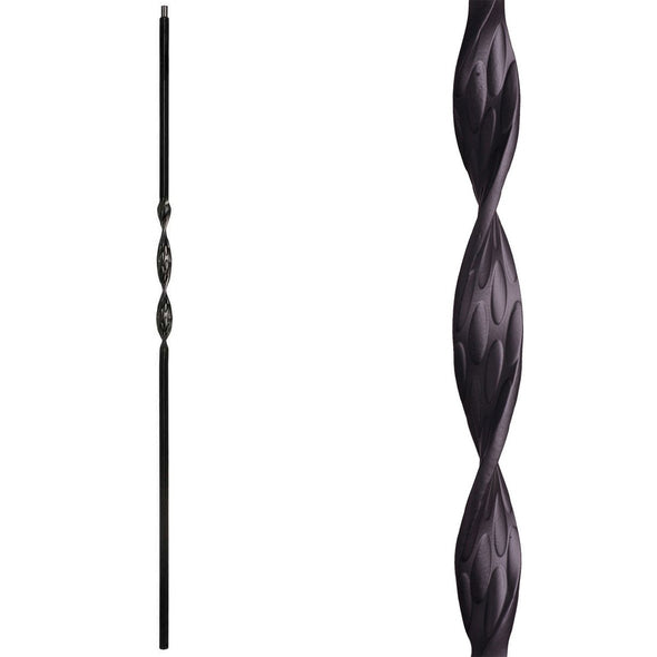Single Ribbon Wrought Iron Baluster