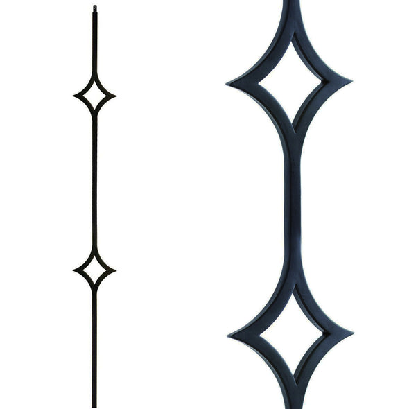 Affordable Modern Double Diamond Wrought Iron Baluster