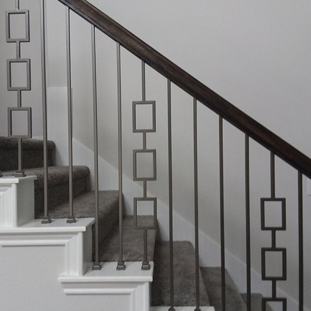 Modern Black Metal Railing Iron Spindles Metal
