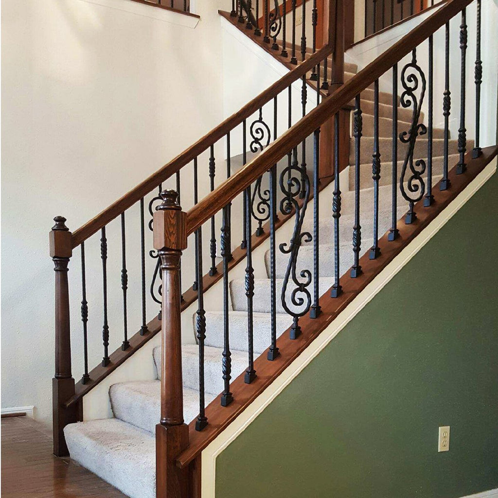 Staircase Twisted Knuckle Hammered Iron Baluster