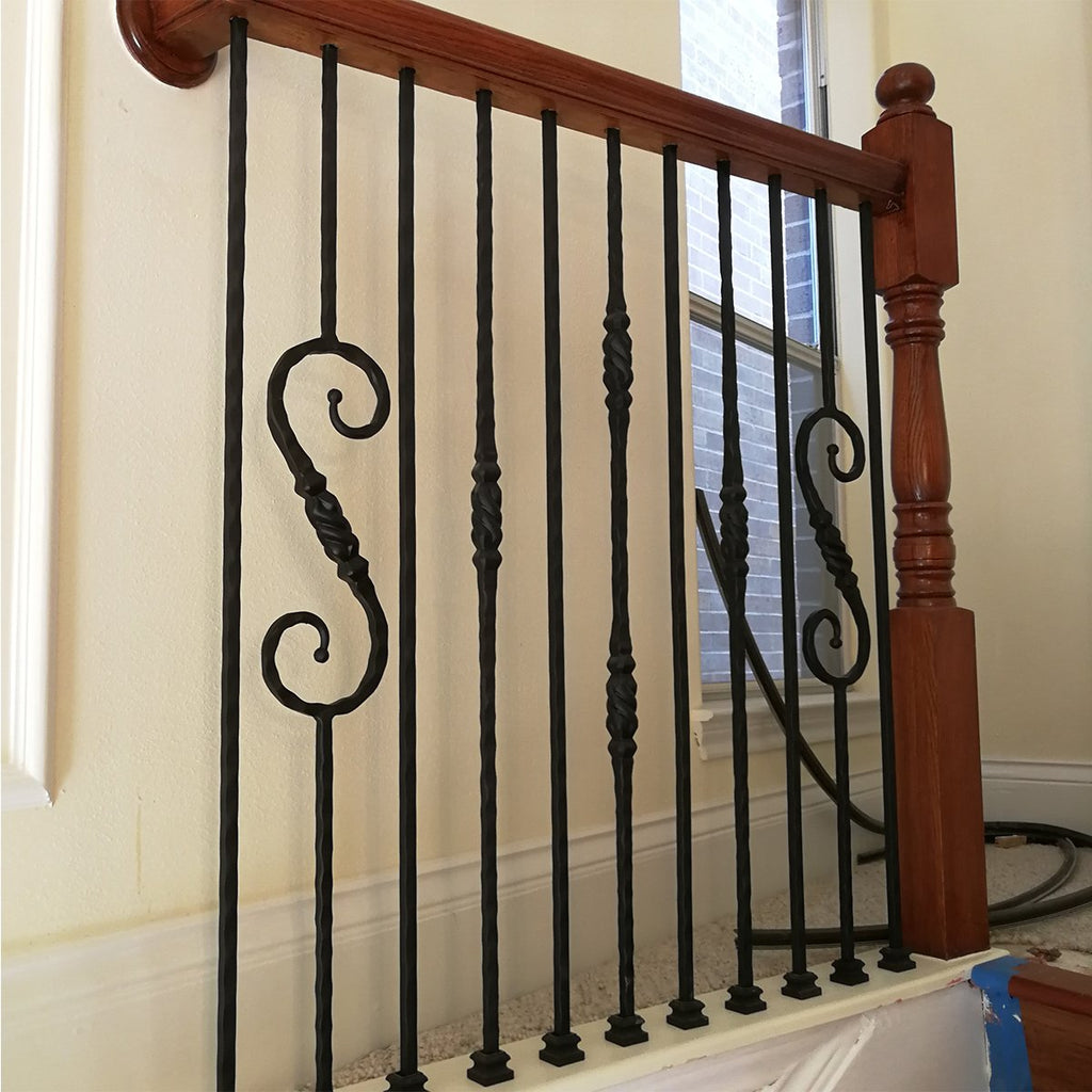Spiral Stair Railing Black Hammered Iron Spindles