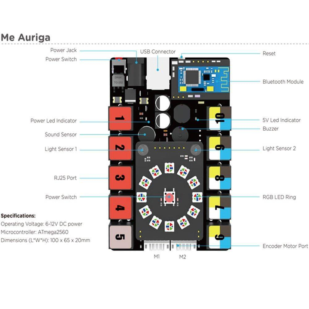 Makeblock Me Auriga-Powerful Main Board-Light/Sound/Gyroscope/Temperature Sensor - MAKEBLOCK