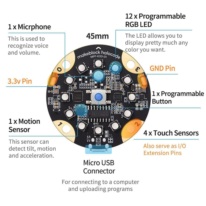Makeblock Halocode Wireless Single Board Pocket-Sized Programmable Computer for Age 10+