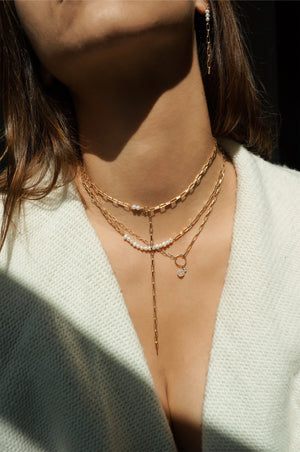 Gold chain necklace and pearl chain necklace, Lariat chain necklace