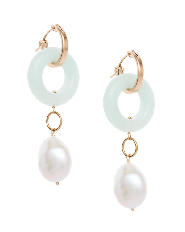 Cerceau Pearl Hoops KOZAKH Amazonite 14K Gold Filled