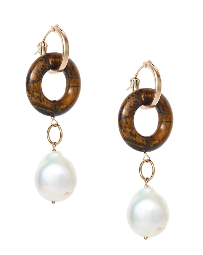 Cerceau Pearl Hoops KOZAKH Tiger's Eye 14K Gold Filled