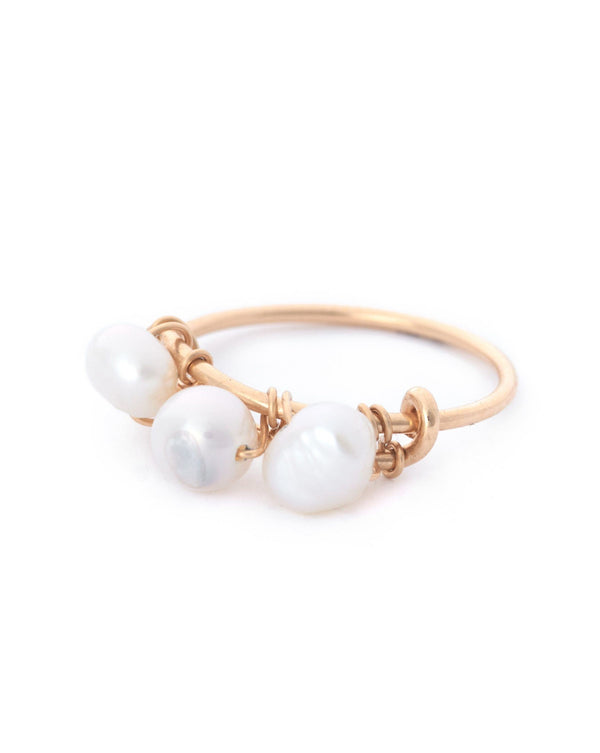 Gem Braided Ring KOZAKH Pearl 14K Gold Filled 5