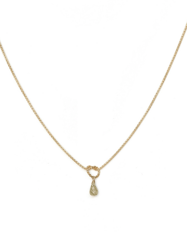 Love Knot Necklace KOZAKH Champagne Sapphire 14k Gold Filled