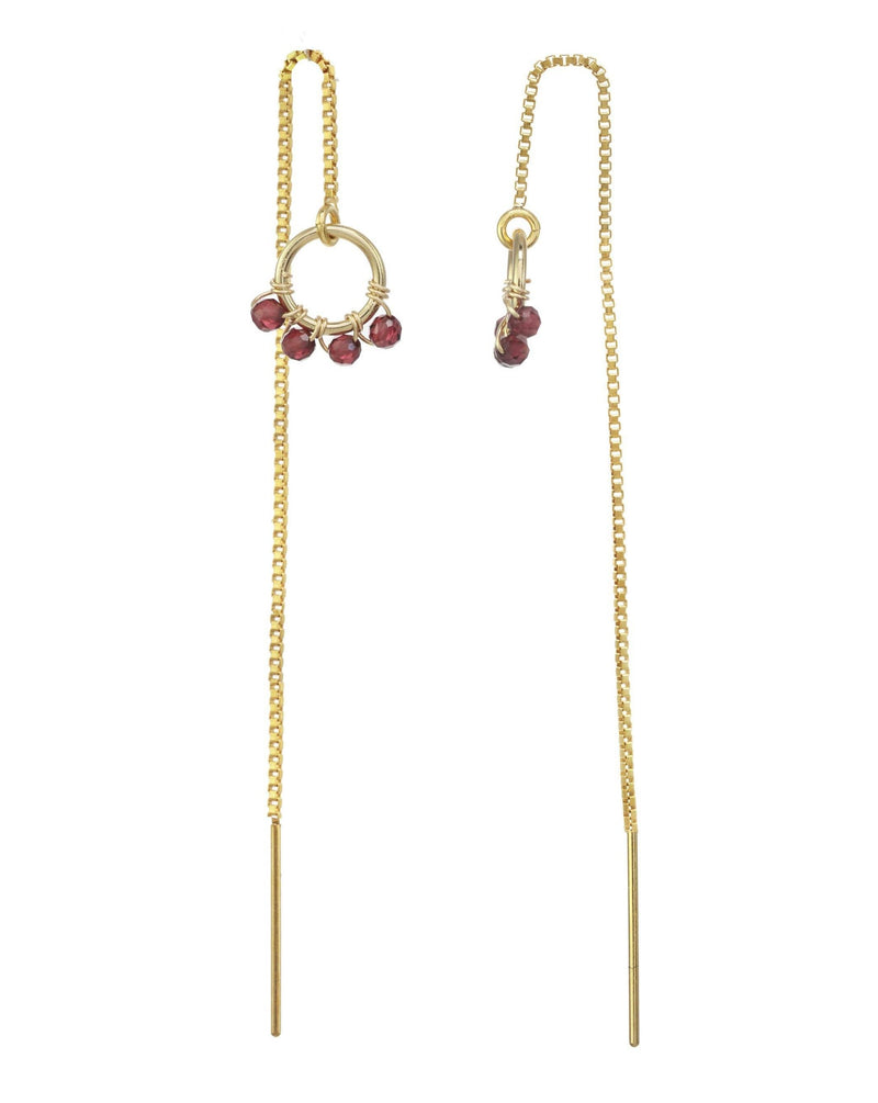 Onda Threader Earrings KOZAKH Garnet 14K Gold Filled