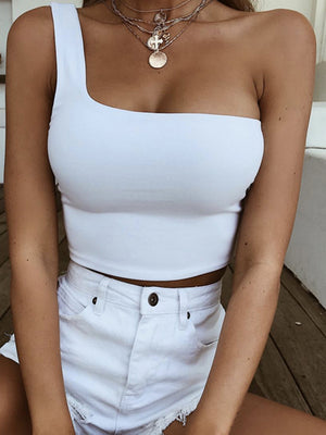 Solid One Shoulder Top