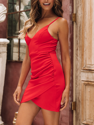 Solid  Sleeveless V-Neck  Slim Fit Mini Dress
