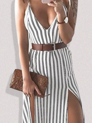 Summer Striped Split V-Neck Spaghetti Strap Slim Fit Dress