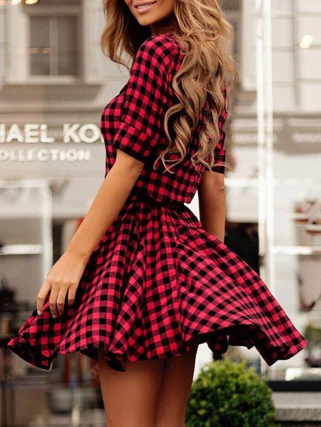 Casual Plaid Splicing Tunic Turndown Dress