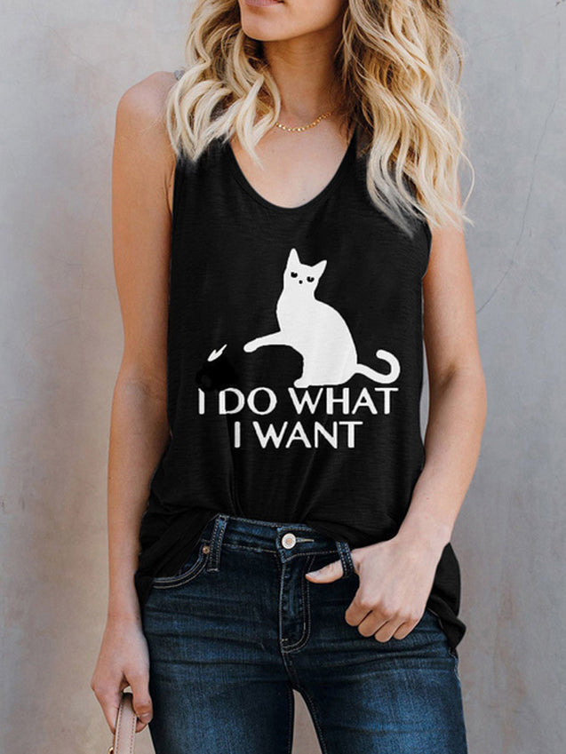 Casual Sleeveless Cat Cartoon Tank