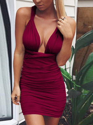Deep V Neck Bandage Ruched Bodycon Club Dress
