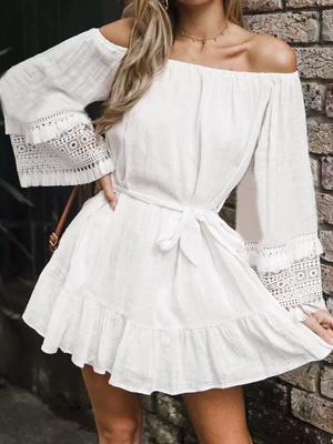 Elegant Off Shoulder Flare Sleeves Soft Cotton Mini Dress